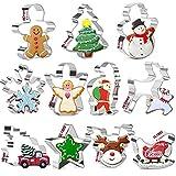 Juego de cortadores de galletas navideñas KAISHANE: copo de nieve de acero inoxidable de 11 piezas, árbol de Navidad, renos, camioneta vintage con árbol de Navidad, estrella, Papá Noel, trineo y más.