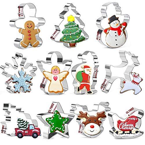 Olywee Lot de 11 emporte-pièces de Noël en acier inoxydable, flocon de neige, arbre de Noël, renne, camion vintage avec arbre de Noël, étoile, Père Noël, traîneau, etc.