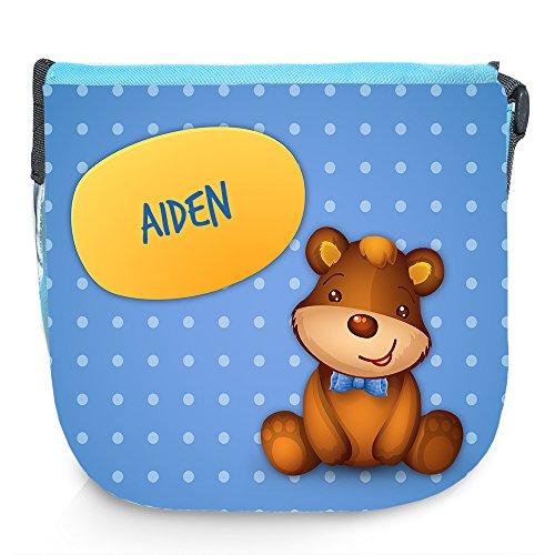 Umhängetasche für Kinder mit Namen Aiden und schönem Motiv mit Bär | Schultertasche für Jungen