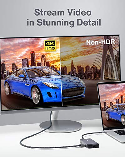 USB C Hub, 7 in 1 Tragbarer Aluminium USB C Multiport Adapter, mit 4K HDMI-Ausgang, USB C PD-Ladeanschluss, USB 3.1-Anschlüsse, SD/Micro SD-Kartenleser, für MacBook Pro, iPad Pro, mehr USB C-Geräte