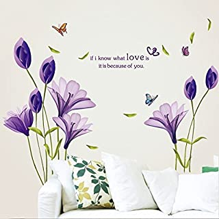 (Purple) - LiveGallery Beautiful Lovely Lily Flowers Wall Decals Removable DIY Butterfly Flower Vines art Decor Wall Stick...
