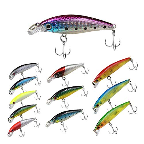 """Topwater Bass Lures, Minnow Lures Crankbait Set 12 pcs Fishing Plugs, Fishing Lures for Freshwater, and Saltwater Fishing, 2.4"""" to 3.4"""" Minnow Lures with 3D Coating and Blood Slot Hook (Minnow 12PCs)"""