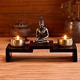 MyGift Mini Buddha Statue Zen Decoration with 2 Tealight Candle Holders and Wood Shelf Base