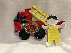 handmade hair clips for babies - firefighter theme
