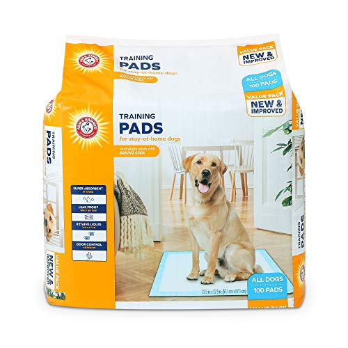 Arm & Hammer for Dogs Training Pads for Stay-at-Home Dogs | New & Improved Super Absorbent, Leak-Proof, Odor Control Quilted Dog Training Pads with Baking Soda | 100 Count Wee Wee Pads