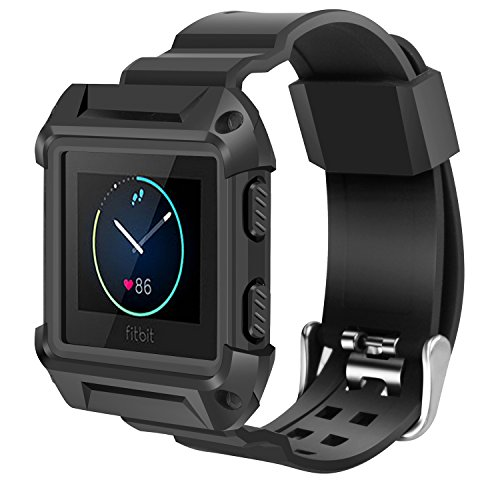 iiteeology Compatible with Fitbit Blaze Bands for Men Large, Rugged Protective Frame Case with Strap Bands for Blaze Smart Fitness Watch Accessory Sport Band, Black