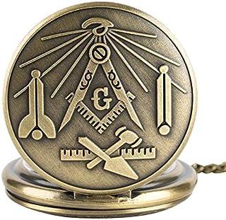 22c6cdd6d Bronce Masónico Masónica Freemasonería Cromo Cuadrado Y Brújula Mason Retro Collar  Colgante Cuarzo Bolsillo Reloj De