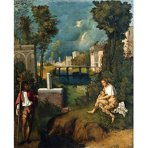 empty Canvas Painting《The Storm》Giorgione Artwork Picture Art Poster Wall Decor Modern Home Living Room Decoration -20x28 in No Frame