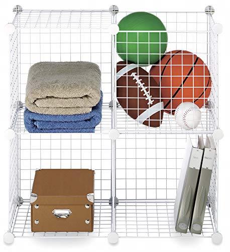 Whitmor Storage Cubes Stackable Interlocking Wire Shelves -White (Set of 4)