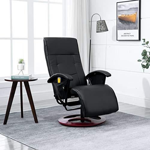Festnight Kunstleder Massagesessel mit Heizfunktion | Massage-Relaxsessel mit verstellbare Rückenlehne | Drehbar Fernsehsessel Polstersessel Schwarz
