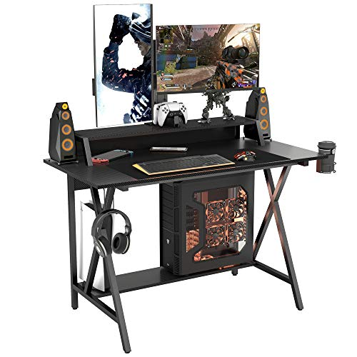 """ONTRY Gaming Desk 47.2"""", Gaming Computer Desk with Printer Monitor Shelf, Cup Holder and Headphone Hook, PC Desk for Home Office, Black"""