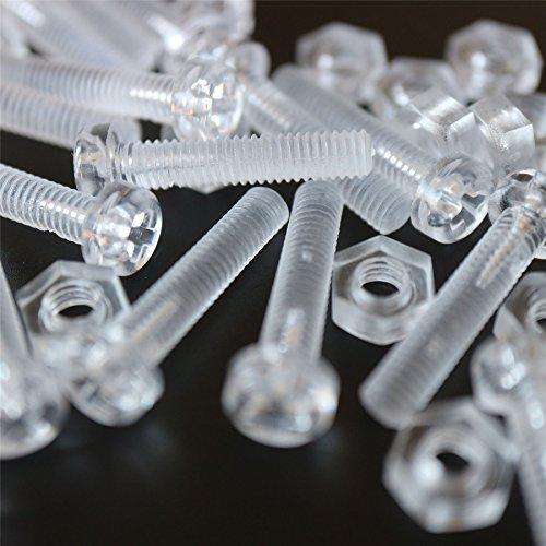 Paquete de 20 tornillos y tuercas, Arandelas, transparentes, de plástico acrílico. M4...