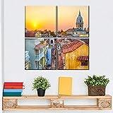 JKHKJ Paisaje del Atardecer Dorado De Cartagena Cuadro En Lienzo 4 Piezas Imagen Impresión,Pintura Decoración 4 Piezas Cuadro Moderno XXL,30X30Cm,Murales Pared Oficina Decor
