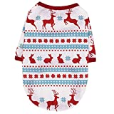 N / A Pet Christmas Clothes, Dog Christmas Clothes Dog Xmas Warm T-Shirt Costumes for Puppy Small Dogs Cat (XS, White)
