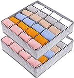 joyoldelf 2 Paquetes Textil organizadores cajón divisores, 24 Celdas Plegable Ropa Interior Cajas...