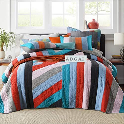 ADGAI 3-delige katoenen gewatteerde sprei dubbel blauw rood gestreept omkeerbaar patchwork beddengoed sets kingsize quilt dekbed met 2 kussensloop