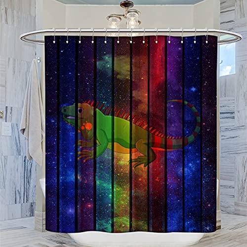Duschvorhang 168 x 183 cm, Iguana Galaxie, Badezimmervorhang, Polyester-Stoff, mit 12 Haken für Badewannen, WC