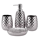 4-Piece Ceramic Bathroom Accessories Set, Moroccan Trellis Bathroom Ensemble Complete Sets for Bath Decor Includes Soap Dispenser Pump, Toothbrush Holder, Tumbler, Soap Dish, Ideas Home Gift (Silver)