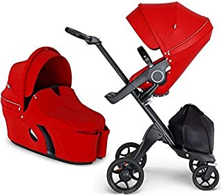Stokke Xplory V6 Black Chassis Stroller with Black Leatherette Handle, Red with Carry Cot