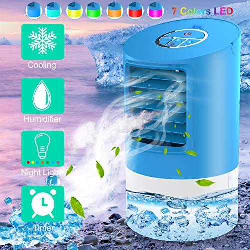 Mobiles Klimageräte  Klimaanlage Wohnung 4 in 1 Luftkühler  2 Timer 3 Windkraft  7 farben,Blau