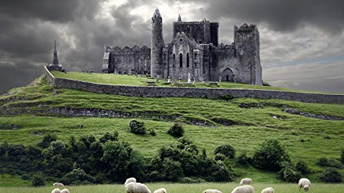 forin Giocattoli Educativi per Bambini Adulti Fai da Te 1000 Pezzi Puzzle-Irlanda Castello Nuvole Collina Pecora 75X50CM