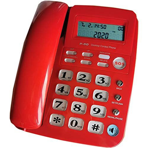 JeKaVis J-P50 Desk Corded Phone, Landline Phone for Small Business and House, Support for Hands-Free Calling, Speed Dial and LCD Display (Red)