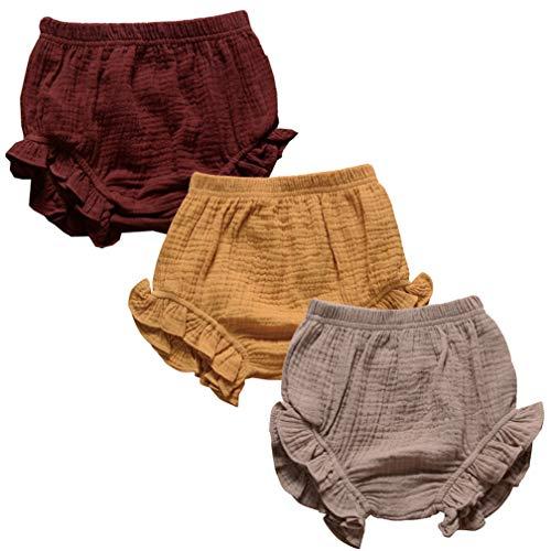 3PC Shorts Set Newborn Baby Girls Boys PP Pants Cotton Linen Blend Cute Floral Bloomer Triangle Shorts (B Coffe+Yellow+Khaki,0-6 Months)