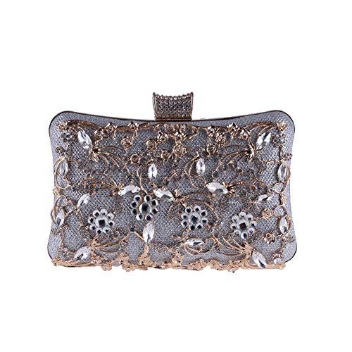 LLUFFY-Clutch Handtasche Europäische und amerikanische Handtaschen weibliche Bankett Tasche durchbrochene Diamant Abend Abendessen Tasche roten Teppich Kupplung, 20 * 12 * 6 cm, Silber