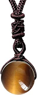 Reizteko Tiger Eyes Beads Necklace for Men Women Natural Stone Pendant Adjustable (Yellow)