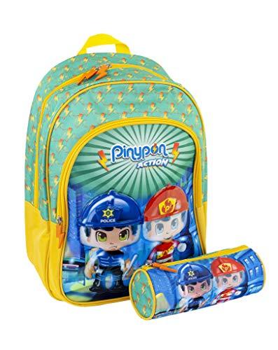 Pinypon Action - Pack de Mochila Infantil y Estuche Escolar con tamaño Mediano, Recomendado a Partir de 3 años (Famosa 700015988)