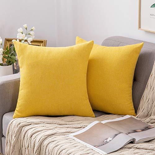 Fundas de Cojines amarillas para sillas - 2 piezas