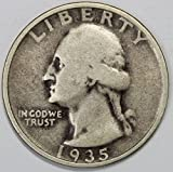 1935 D Silver Washington Quarter 25c Fine or...