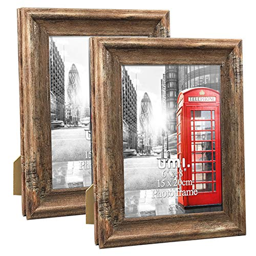 UMI. Essentials 8x6 Photo Frames Rustic Distressed Picture Frame 8 x 6 Set, Wall Hanging and Tabletop, 2 Pack, Brown