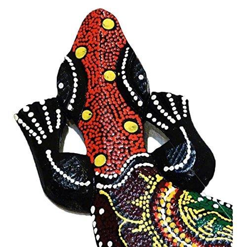 Gecko Echse Deko Figur Wanddeko Holzfigur Wandfigur Afrika Asia punktbemalt dotpainting Salamander Größe M