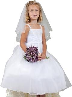 Girls' First Communion Veils Headband with Bow White Catholic Religious Embroidered Wedding Veil