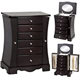 Best Choice Products Wooden Handcrafted Jewelry Box Organizer Armoire Cabinet Storage Chest, Dark Brown