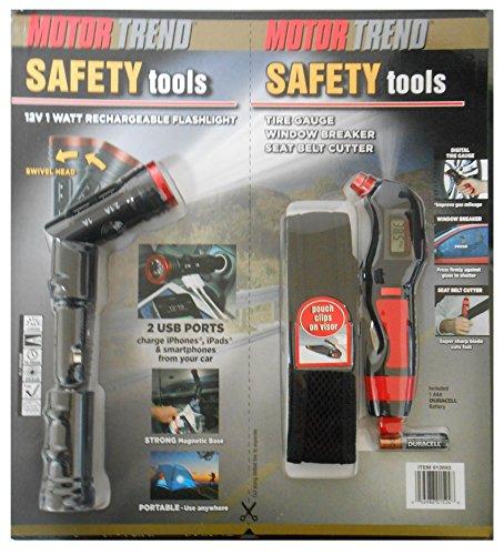 Motor Trend Safety Tools: Rechargebale Flashlight, Tire Gauge, Window Breaker, and Seat Belt Cutter