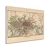 HISTORIX Vintage 1815 London England Map Poster - 18x24 Inch Vintage Map of London Wall Art - Historic London Wall Decor - Old Map of London England Wall Art (2 Sizes)