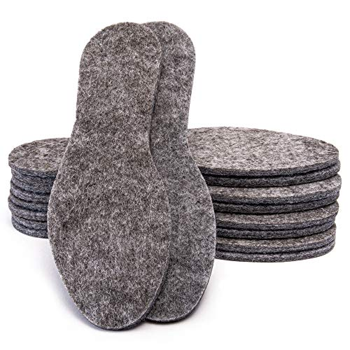5 Paare Filz Einlegesohlen extra dicke 6 mm Schuheinlagen Filzsohlen Große 28 - 46, Grau, 45