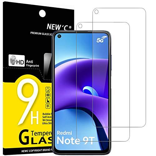 NEW'C Lot de 2, Verre Trempé Compatible avec Xiaomi Redmi Note 9T 5G, Film Protection écran sans Bulles d'air Ultra Résistant (0,33mm HD Ultra Transparent) Dureté 9H Glass