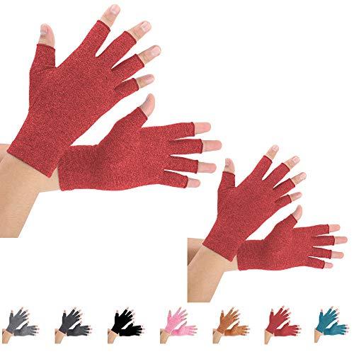2 pares de guantes de compresión de artritis para aliviar el dolor de artritis, reumatoide, osteoartritis y túnel carpiano para hombres y mujeres, sin dedos para escribir (mediano, rojo)