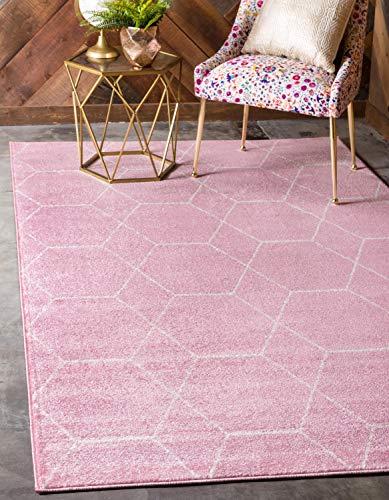 Unique Loom Trellis Frieze Collection Lattice Moroccan Geometric Modern Pink Area Rug (9' 0 x 12' 0)