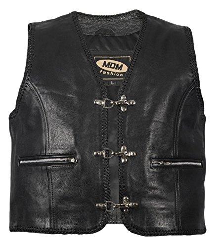MDM - Chaleco de piel para hombre con cordones y bolsillos con cremallera, chaleco de rockero, chaleco de club negro Negro extra-large