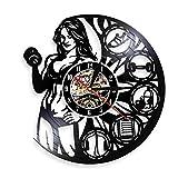 HRWDZ Female Bodybuilder Weightlifting Wall Art Clock Muscletech Lady Builder...
