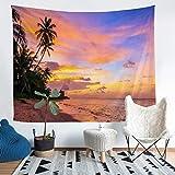 Loussiesd Ocean Beach Wall Hanging Sea Sunset Scenery Manta de pared Tropical Palm Tree Tapiz para niños Adultos Hawaiian Holiday Tapices Decoración de la habitación XLarge 69 x 91 Funda de sofá