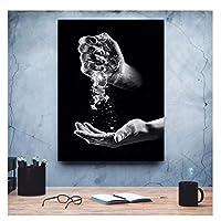 Suuyar 黒と白の手水キャンバス絵画ギフト画像家の装飾モダンなプリントポスターウォールアートリビングルーム-60X80Cmフレームなし