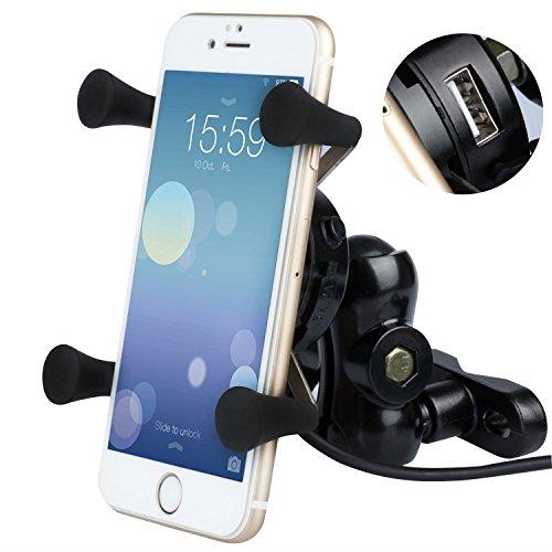 BlueFire Motorrad Handyhalterung, Universal X-Grip Aluminium 360°Drehbare Motorrad Handy Halter mit 5V 2,1A USB Ladegerät für Alle 3,5 Inch zu 6 Inch Handy GPS