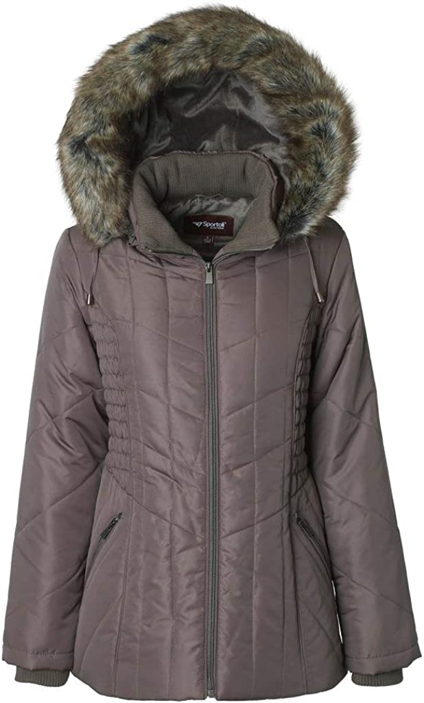 Sportoli Women's Midlength Ruched Detail Plush Lined Puffer Coat with Zip-Off Detacheable Fur Trim Hood