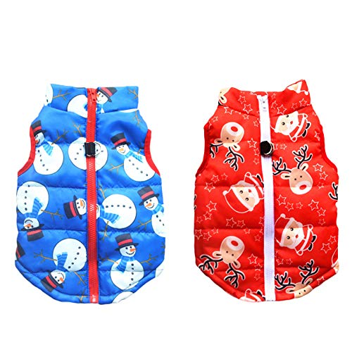 SEIS 2 Pcs Christmas Dog Cotton Wadded Jacket Snowman Pet Coat with Harness Hook Xmas Elk Cats Hoodie Vest Santa Claus Puppy Costume for Cats Small Medium Dogs (XS (Chest Circumference 35cm/13.78'))