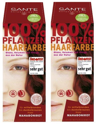 Sante Pflanzenhaarfarbe Haarfarbe im Doppelpack mahagoni 2 x 100 g im Set für ein tolles Farberlebnis